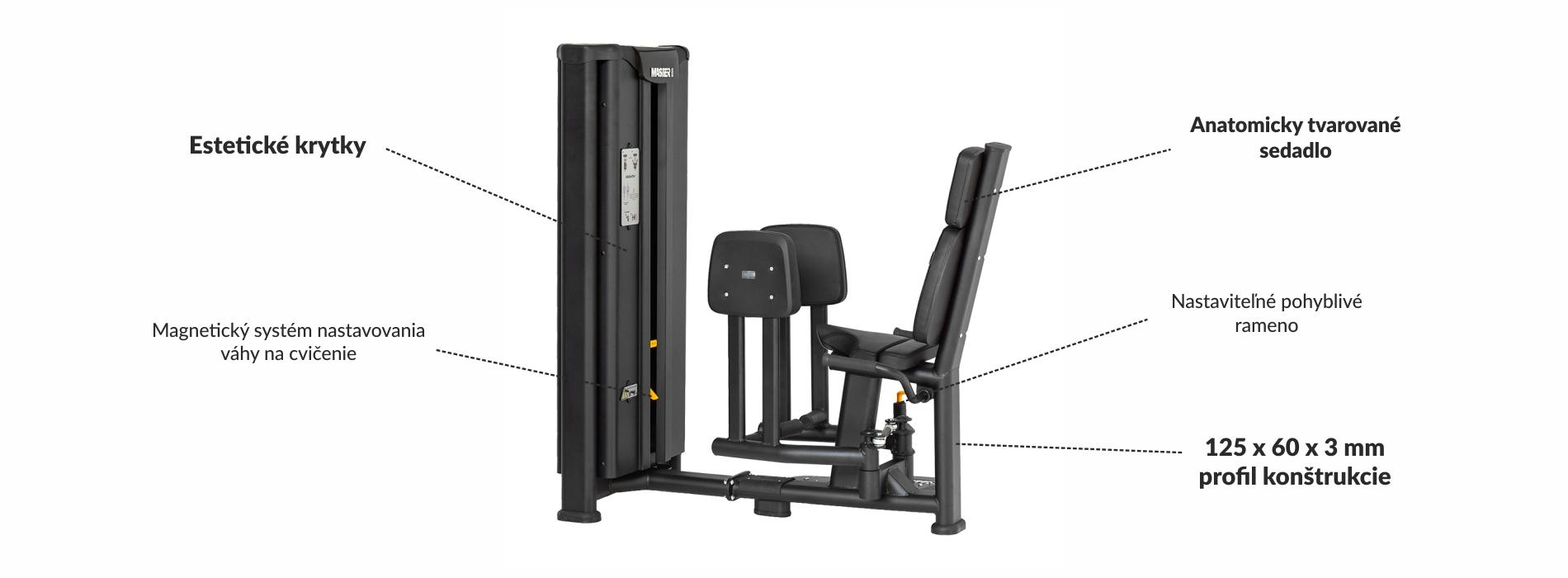 Stroj na posilnenie vonkajších stehenných svalov Master Sport