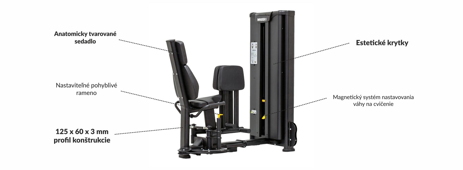 Stroj na posilnenie vnútorných stehenných svalov Master Sport