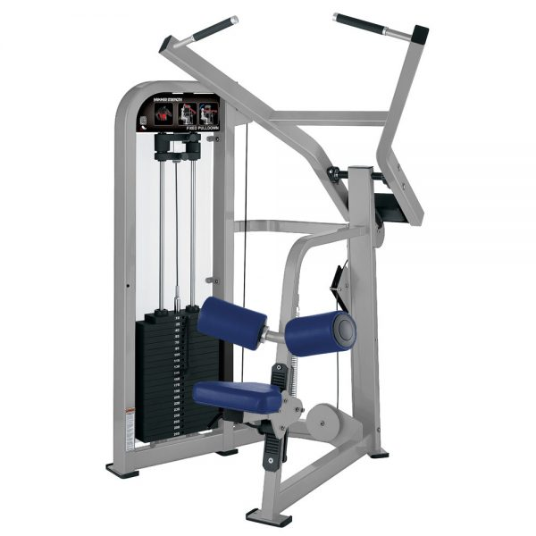 Stroj na cvičenie chrbta a ramien Hammer Strenght sivý