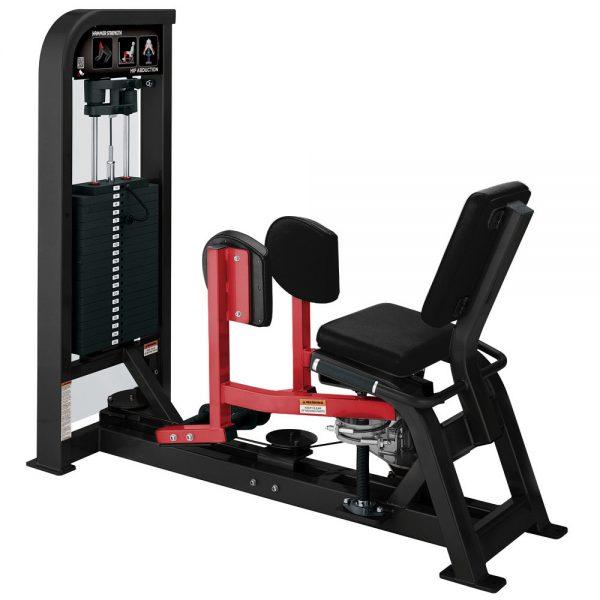 Stroj na cvičenie vonkajších stehenných svalov Hammer Strength čierny