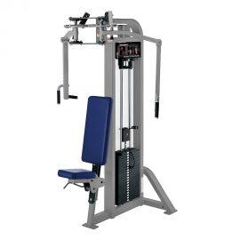 Stroj na cvičenie hrudných a deltových svalov Hammer Strength sivý