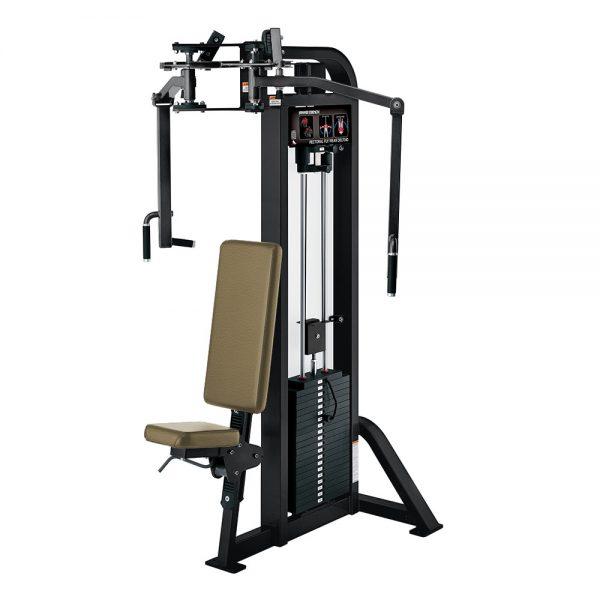 Stroj na cvičenie hrudných a deltových svalov Hammer Strength čierny